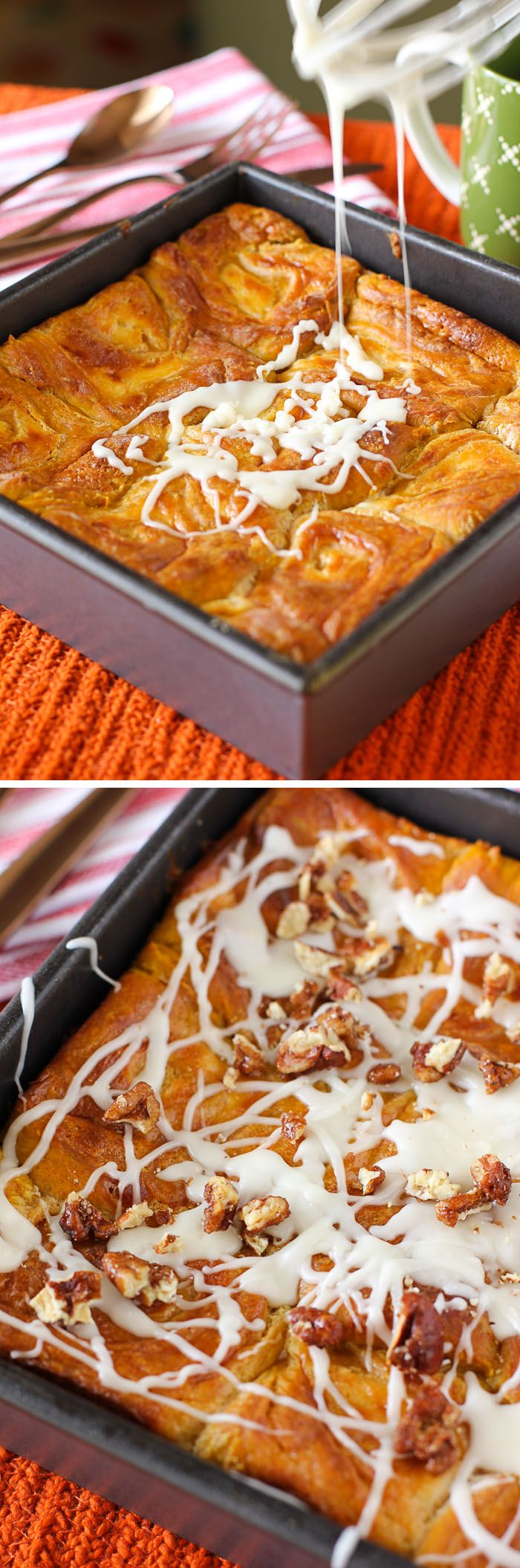 Pumpkin Cheesecake Cinnamon Rolls: They start with a pumpkin yeast dough that gets filled with a thick cheesecake mixture before being rolled up, baked, glazed, and topped with Maple Candied Pecans! @julieruble