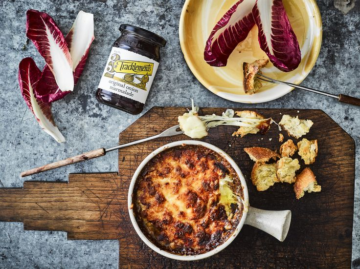 Gooey Cheese Fondue Pot with Tracklements Original Onion Marmalade