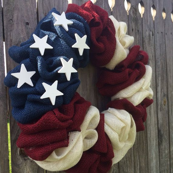 NEW ALL American Flag Burlap Bubble Wreath by FromTheCoast2TheCity, $45.00