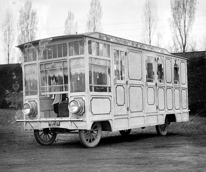 A fancy homebuilt motorhome, built on a Ford Model TT truck chassis in Ohio, 1924 from Crazy Wooden Homes on Wheels Are Ripped Out of Victorian Dreams