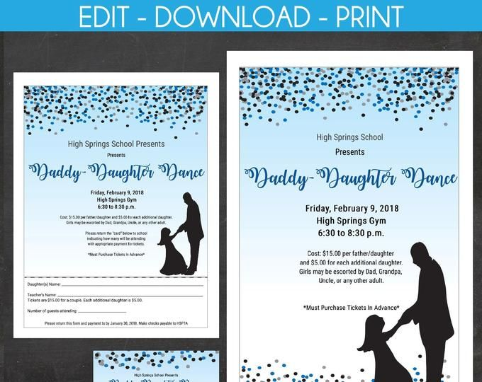 Etsy Your Place To Buy And Sell All Things Handmade In 2020 Printable Invitations Invitation Flyer Daddy Daughter Dance