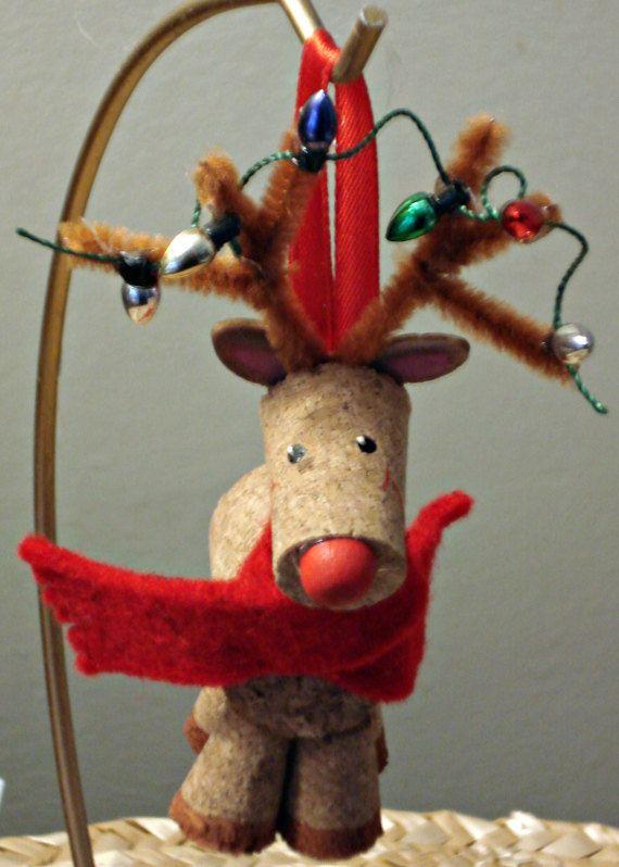 Cork Reindeer with Christmas Lights