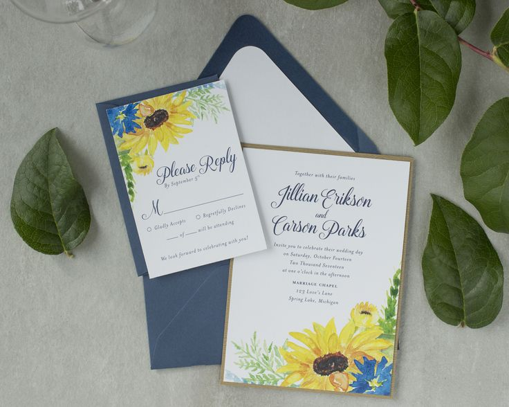 Bringing country elegance to life with this beautiful sunflower wedding invitation! A natural design tied together with rustic twine. Paired with a navy blue envelope and white liner and mounted on a faux wood backer. Impress your guests at your fall wedding with these stunning invitations! By Blonde & Brindle Design Co. LLC