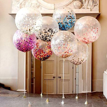 "36"" Giant Round Balloon with Handmade Tissue Paper Confetti"