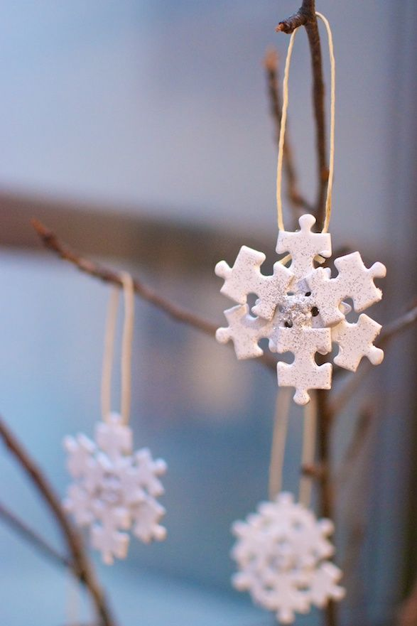 So lovely.....Puzzle Snowflakes