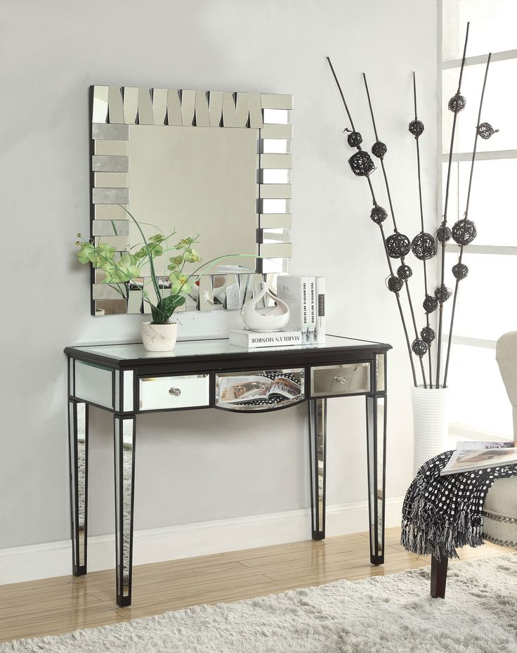 Black Console Table W/ Mirror Accents | Coaster | Home Gallery Stores