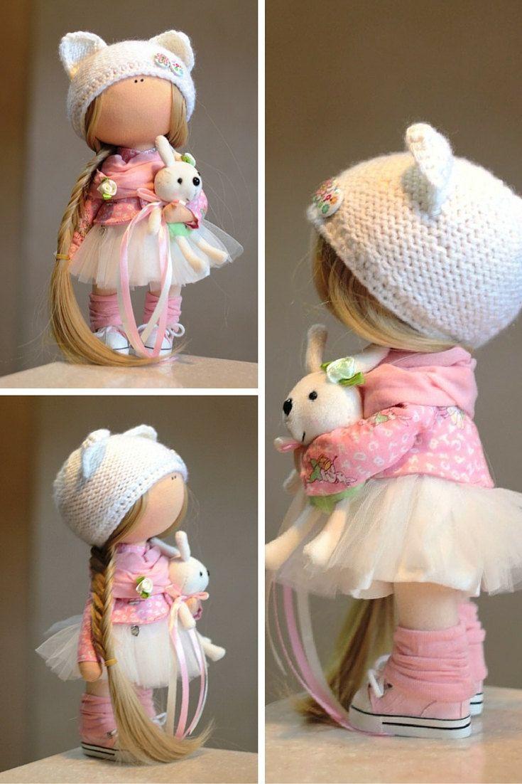 Rag doll Fabric doll Summer doll handmade pink color Soft doll Cloth doll Baby…