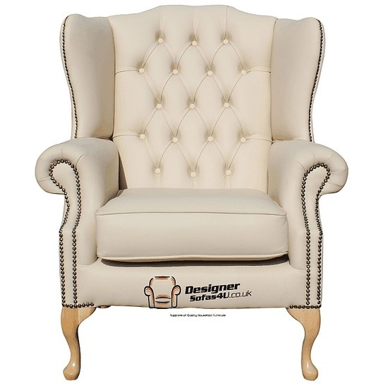 Chesterfield Mallory Flat Wing Natural Feet High Back Wing Chair UK Manufactured Cream Leather