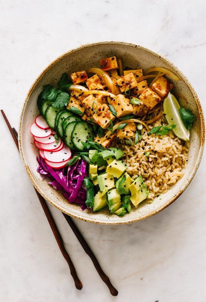 Brown Rice Bowl With Crispy Tofu And Vegetables Poke Bowl Recipe Whole Food Recipes Healthy Recipes