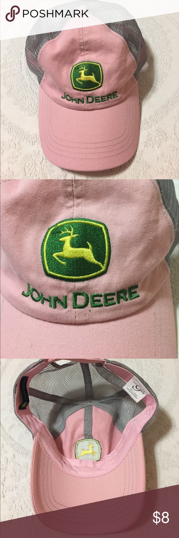 John Deere Baseball Cap Good condition. Adjustable Velcro strap in back. John Deere Accessories Hats