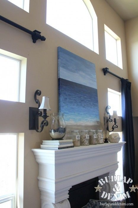 How to make inexpensive contemporary Beach art from Burlap and Denim