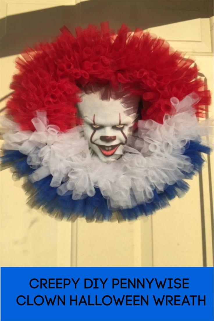 Creepy DIY Pennywise Clown Halloween Wreath
