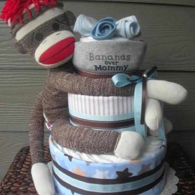 Sock Monkey Diaper Cake