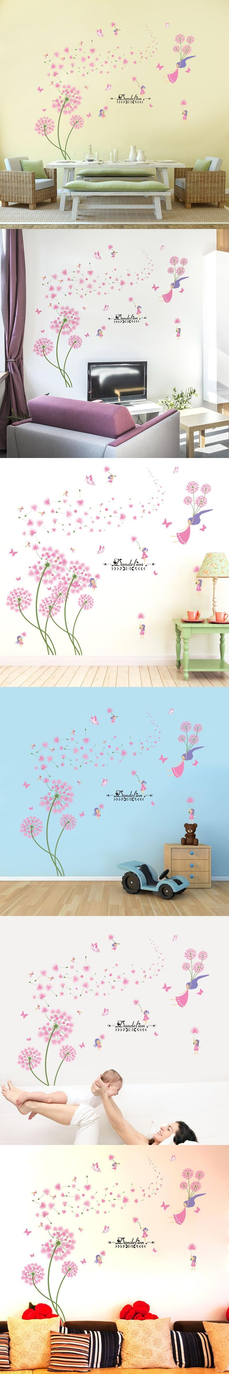 shijuehezi pink dandelion wall stickers flower angel wall decals vinyl diy home decor for