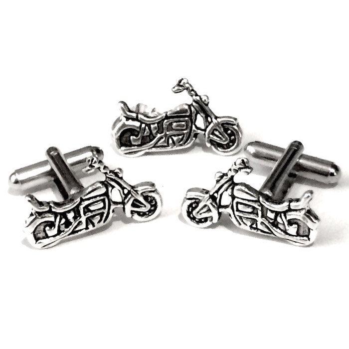 Men's Silver Motorcycle Cuff Links & Tie Tack, Handcrafted Motor Bike Cufflinks Set- Guy Prom Groom Wedding Mans Biker Harley Gift by Lynx2Cuffs on Etsy