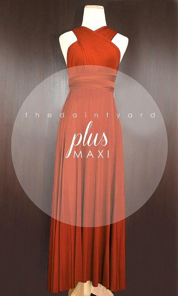 MAXI Plus Size Burnt Orange Bridesmaid Prom Wedding ...