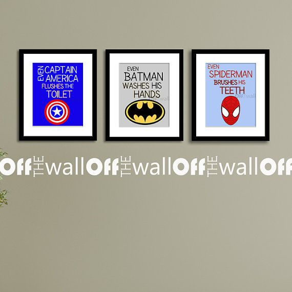 "Superhero Bathroom Art Prints - Set of 3 5x7 - ""Even Batman Washes His Hands"" Etc."
