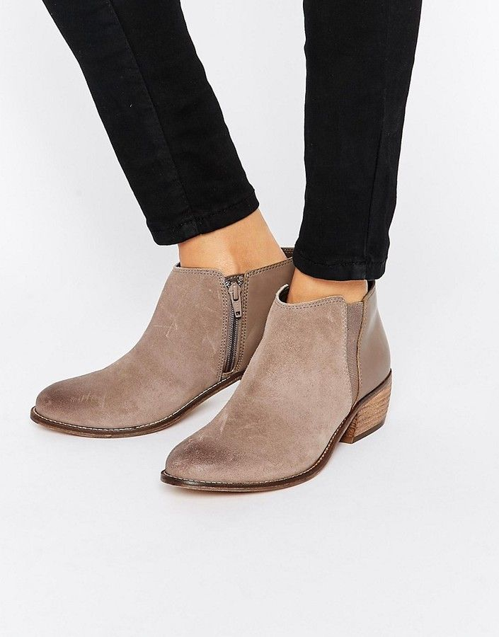 Dune Penelope Grey Suede Ankle Boot