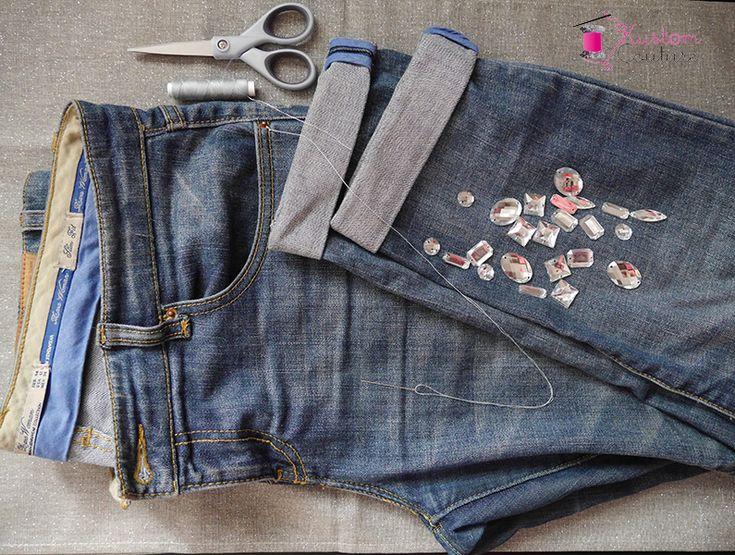 Customisation d'un jean avec strass