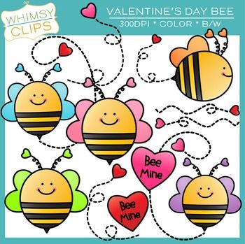 FREE - Valentine's Day Bee. High-resolution clip art from Whimsy Clips.