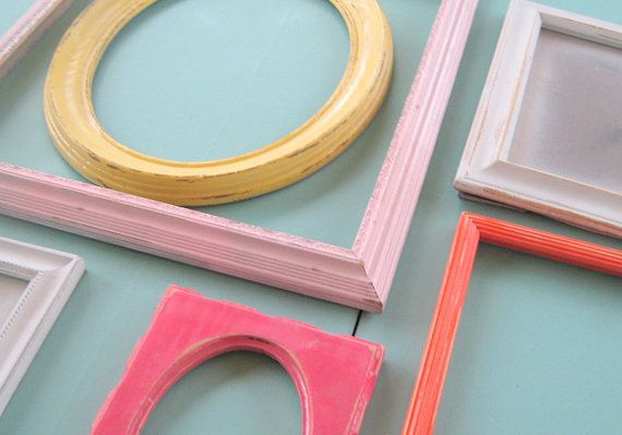 Yellow, Pink, and Orange Frame Set Bright Shabby Chic Frames Girls Room Teen Wall Decor
