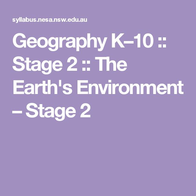 Geography K–10 :: Stage 2 :: The Earth's Environment – Stage 2