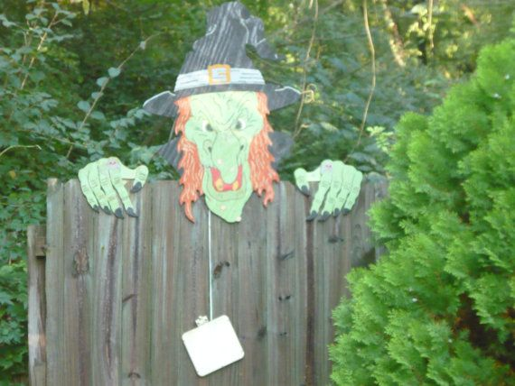 Wicked Witch Halloween fence peeker by woodworksandtshirts on Etsy, $40.00