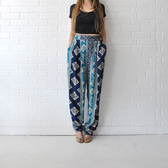 High Waist Tribal Batik Print Pants   //   Blue Hippie Boho Wide Leg Pants  //  Flowy Summer Rayon Pants Pockets via Etsy