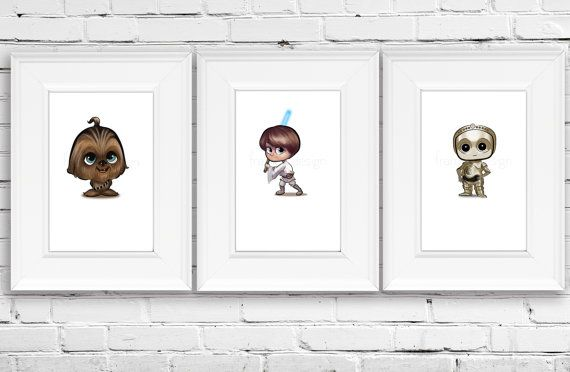 Star Wars Personalized Art Baby Chewbacca Star by FramedDesign