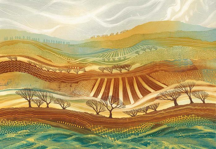 """""""February Fields."""" Colourful, detailed patchwork landscapes by Northumberland artist Rebecca Vincent. Original monotypes sold, limited edition art prints available."""