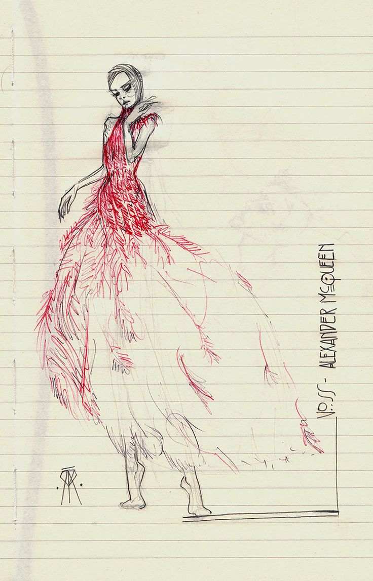 "Alexander Mcqueen ""Voss"" collection. Fashion sketch"