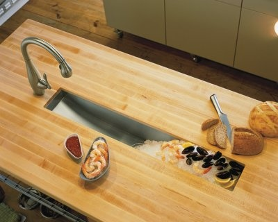 The Kohler Undertone trough sink serves up iced hors d'oeuvres.    This pin/re-pin is intended ONLY to serve as design inspiration for friends of http://stebnitzbuilders.com