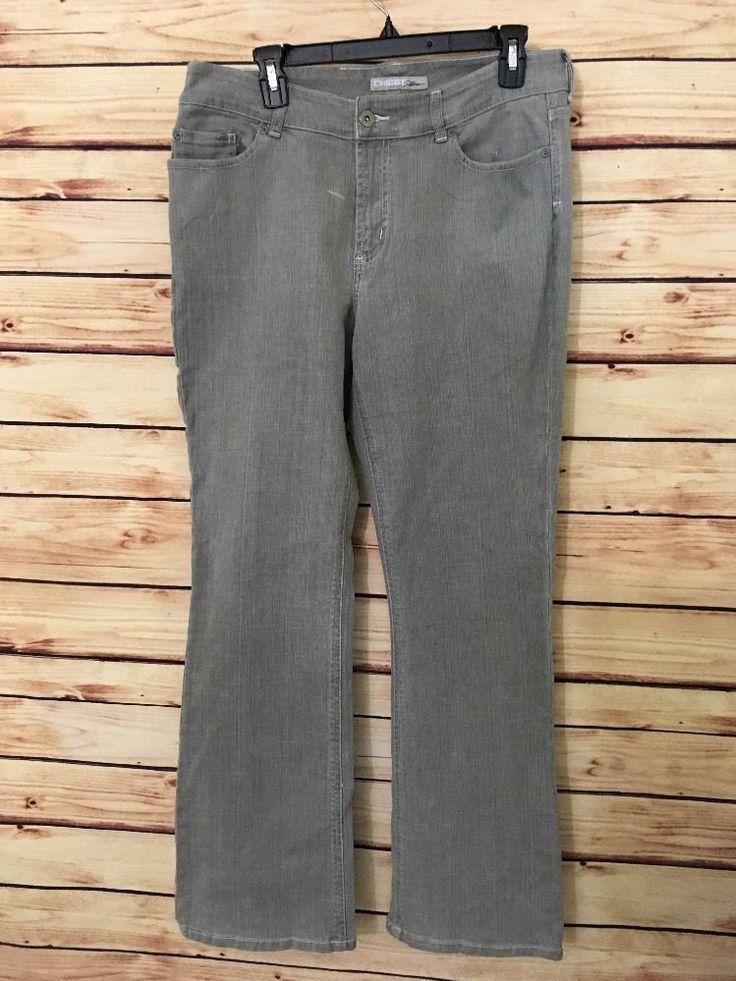 Chicos Jeans Platinum sz 2 Reg womens 12 boot cut  gray wash 1% spandex #Chicos #BootCut