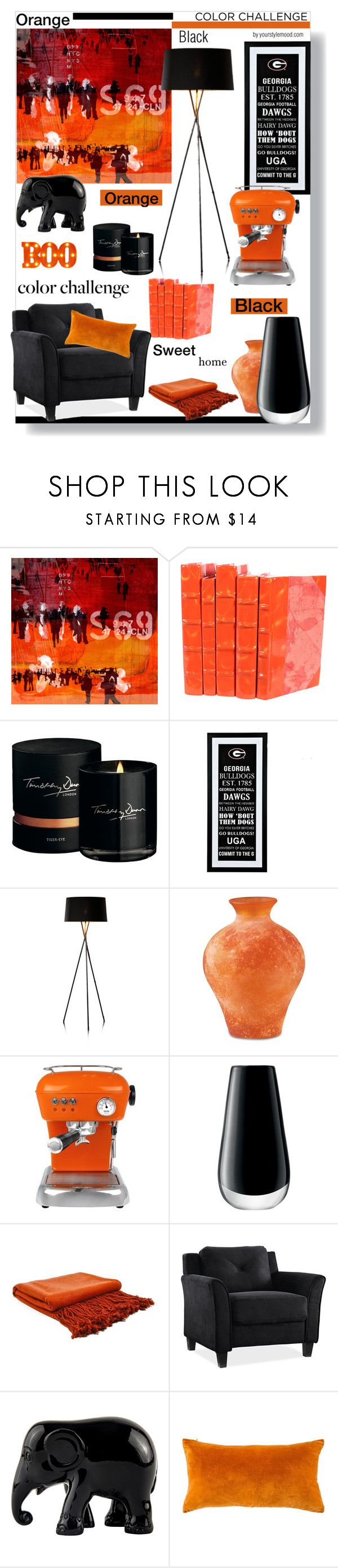 """""""Boo! Orange and black in my home."""" by yourstylemood ❤ liked on Polyvore featuring interior, interiors, interior design, home, home decor, interior decorating, The Artwork Factory, Timothy Dunn, M&S and Ascaso"""