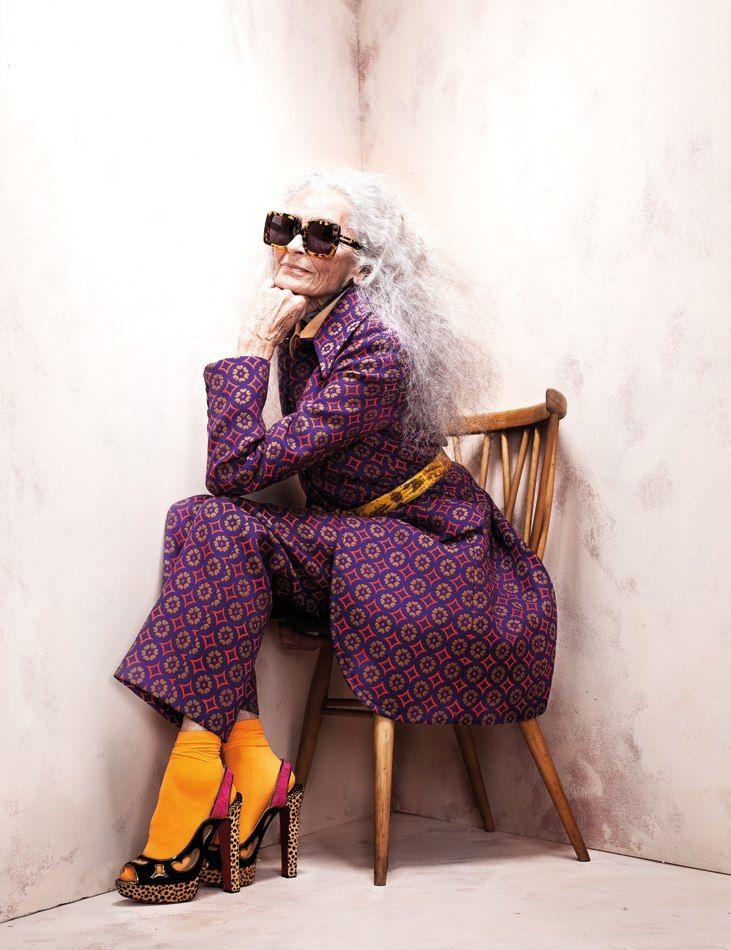 ~83yr old model she makes old look beautiful... Long gray/platinum hair!  Daphne 2