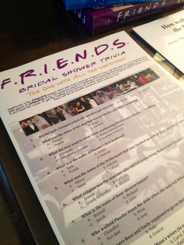 "The maid of honor also created her own Friends trivia game with questions based on all of the weddings in the show. | Someone Had A ""Friends""-Themed Bridal Shower And It Was Awesome"