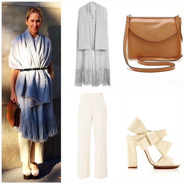 Indre Rockefeller, Delpozo, Street style, París Fashion week, Bufanda, scarf, trend, tendencia.