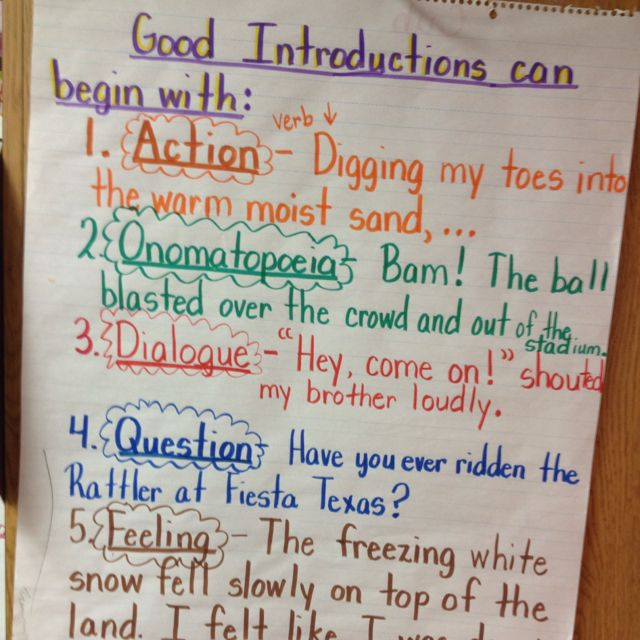 PERSONAL NARRATIVE: Leads/Introductions Anchor Chart #Writing #RealisticFiction