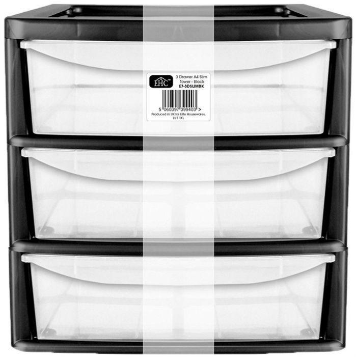 Drawer Clear Deep Plastic Storage Unit Tower 30cm Height Office Craft Organiser  | eBay