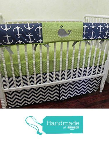 Nursery Bedding, Bumperless Baby Crib Bedding Set Beck, Baby Boy Bedding, Crib Rail Cover, Nautical Crib Bedding in Navy and Lime, Anchors, Whale Baby Bedding - Choose Your Pieces from Just Baby Designs Inc https://www.amazon.com/dp/B01D99TVVC/ref=hnd_sw_r_pi_dp_yuwFxbQ5WM0XX #handmadeatamazon