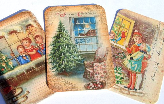 Christmas Windows  Gift Tags  Set of 6  Christmas by SiriusFun