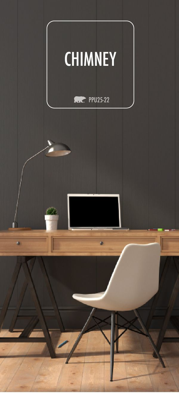 Give your home office a makeover with a dramatic coat of Chimney. This bold dark color is sure to add a bit of contrast with a natural wood desk and minimalist desk accessories. It's sure to inspire productivity while you sit at your desk!