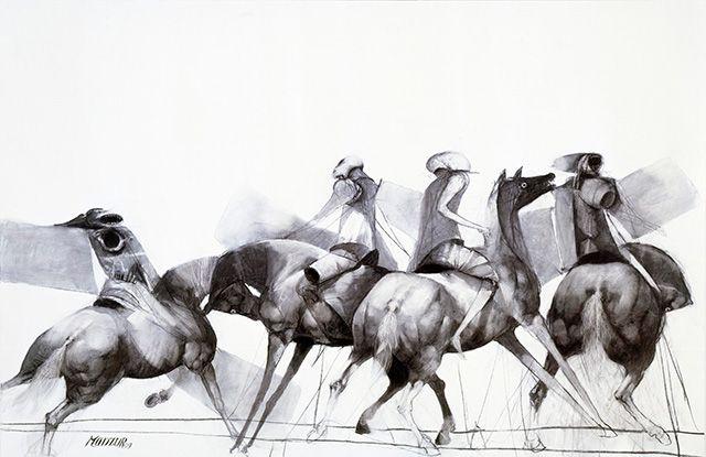 David Manzur Caballos de Viento::2009 / Dibujo sobre lienzo / 100x150cm
