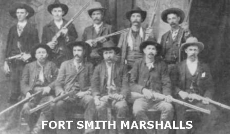 The first row left to right are noted Deputy Marshals: Heck Bruner, Bud Ledbetter, Grant Johnson, Heck Thomas and Bill Tilghman.