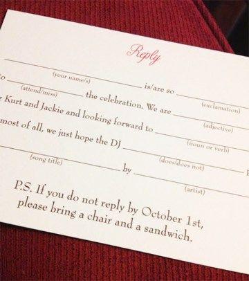 Funny wedding RSVP as seen on @offbeatbride #wedding #rsvp