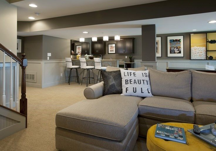 Grey is another basement-approved neutral, but be sure to choose a warm shade with yellow undertones to avoid gloomy, lacklustre walls.