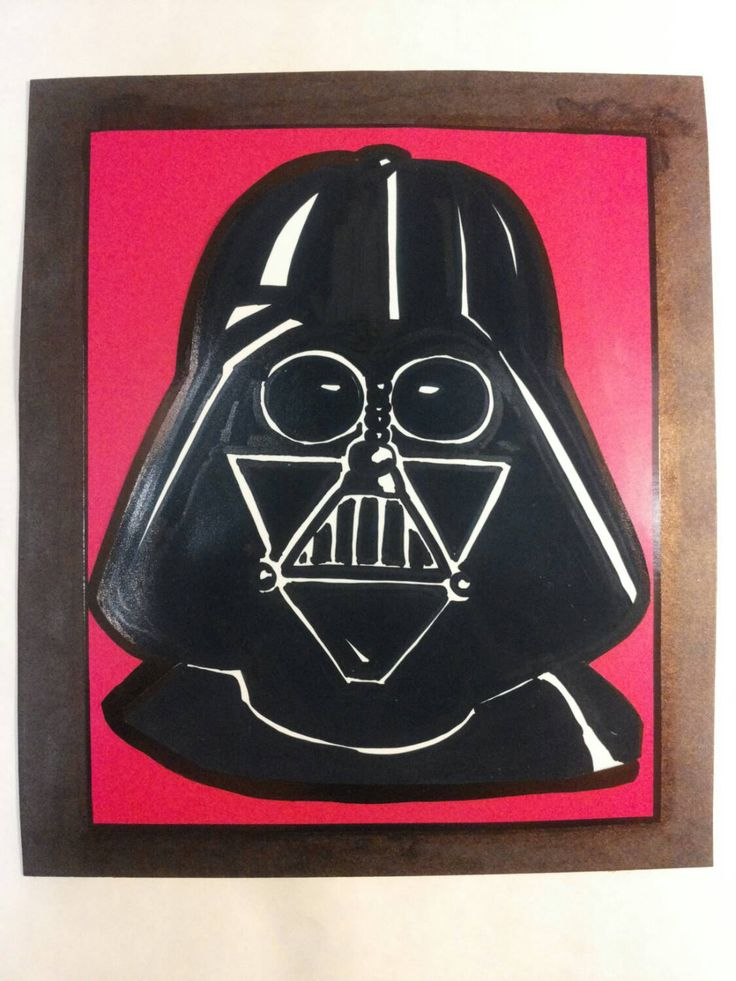 12,5 by 14,5 cm cutout illustration of Darth Vader by AnniCrafting on Etsy