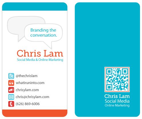 Business card for Social Media Specialist Chris Lam