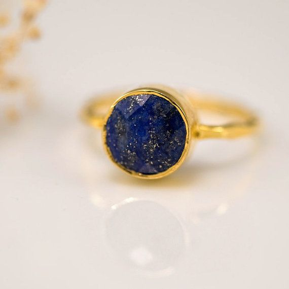 18K Gold Vermeil Ring - Lapis Ring -  Gemstone Ring - Bezel Ring - September Birthstone via Etsy