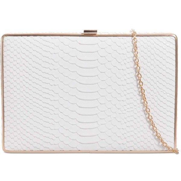 Snake Print Clasp Bag by Koko Couture ($24) ❤ liked on Polyvore featuring bags, handbags, clutches, white, white clutches, clasp handbag, faux purses, white handbags and white purse